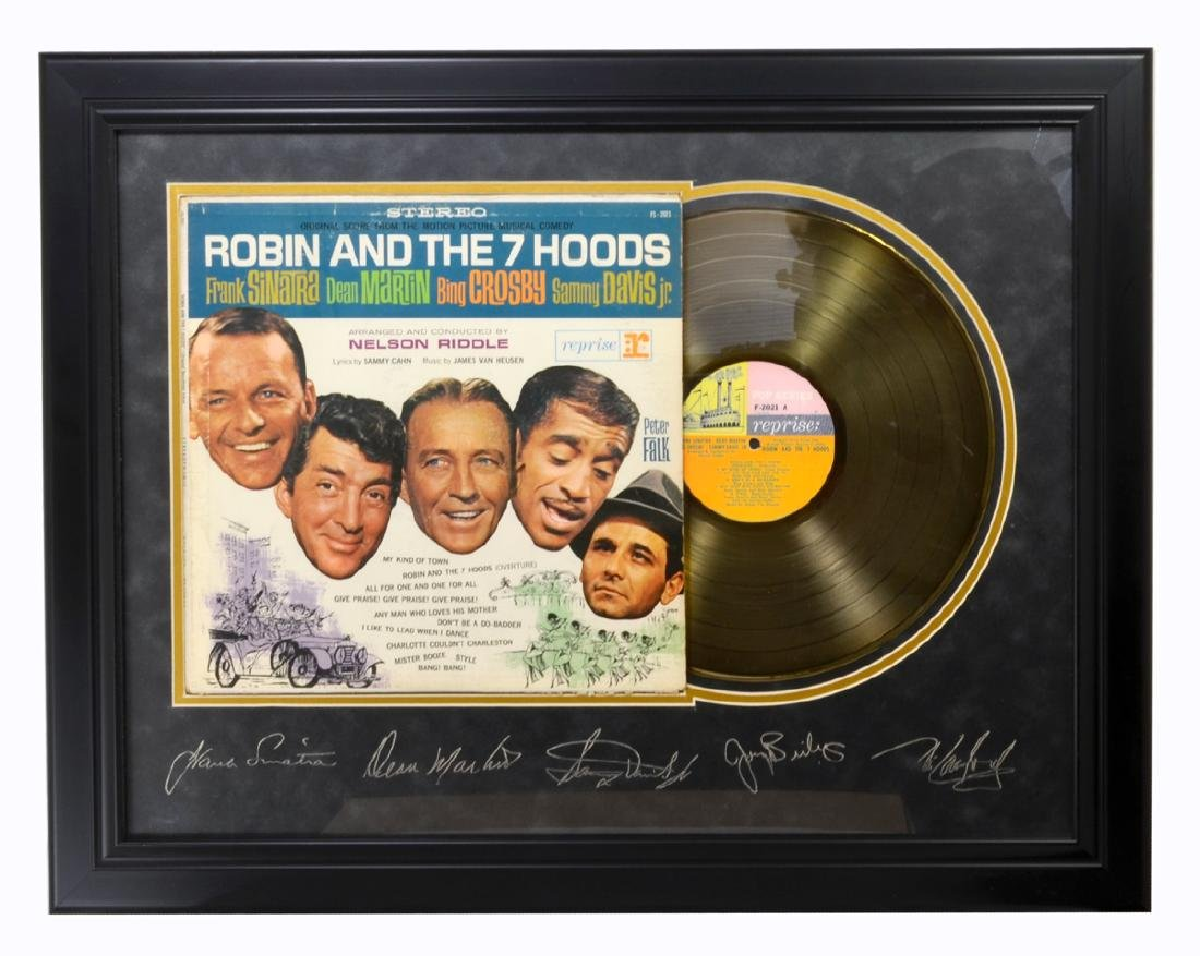 Very Rare Rat Pack Original Record Plate Signed