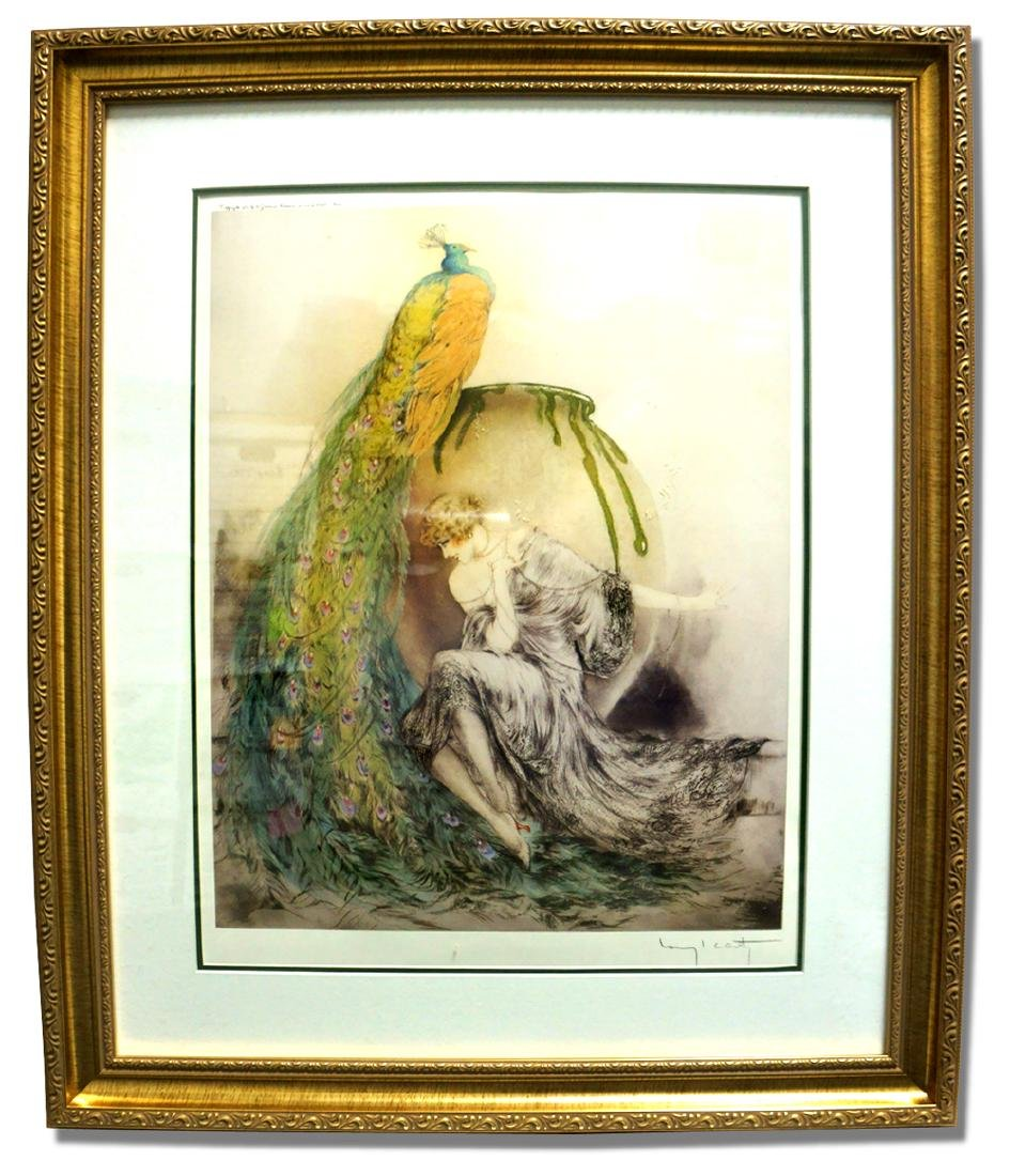 Icart (After) - Peacock - Museum Framed Print 25x29