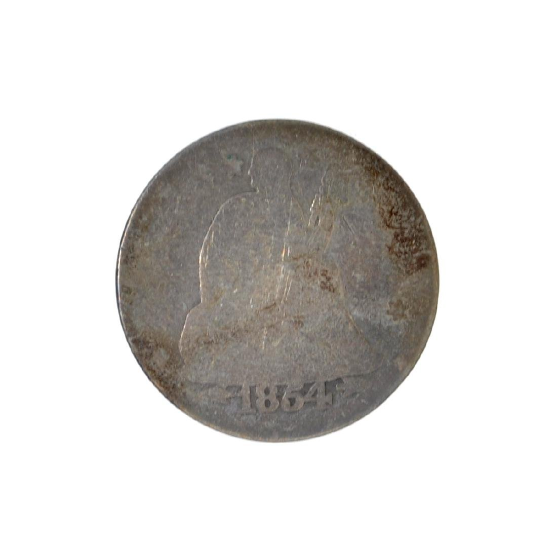 1854 Liberty Seated Arrows At Date Dime Coin