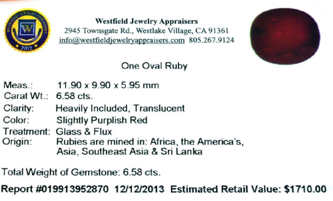 APP: 1.7k 6.58CT Oval Cut Ruby Gemstone - 3