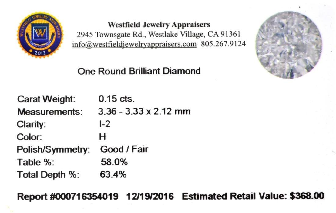 APP: 0.4k 0.15CT Round Brilliant Cut Diamond Gemstone - 2