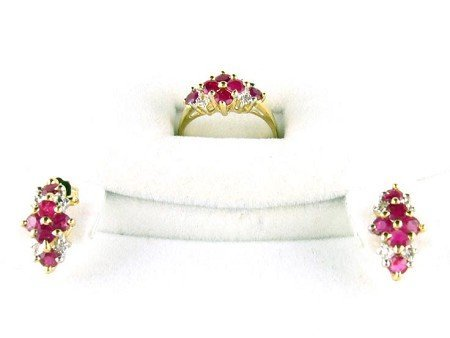 5023: 14 kt. Gold, Ruby and Diamond Set Ring, Earring S
