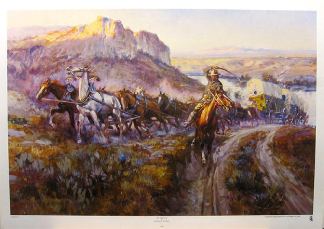 CHARLES M. RUSSELL (After) The Jerk Line Print, 32'' x
