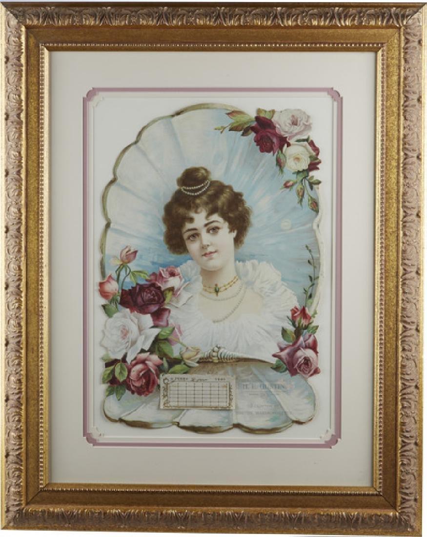 Rose And Roses 1901 Embossed Calendar Framed 22x28 -P-