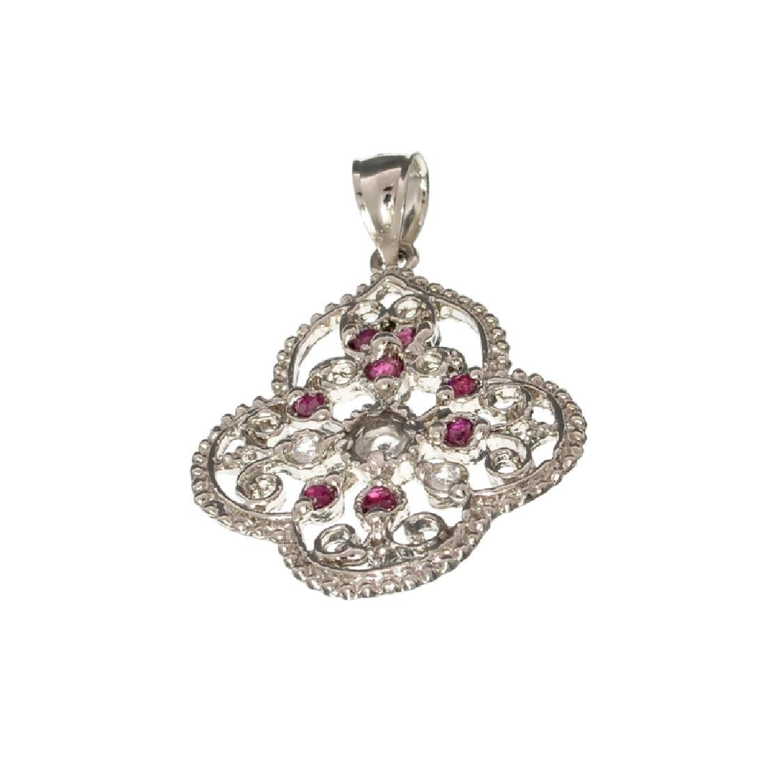 APP: 0.7k Fine Jewelry 0.83CT Round Cut Ruby And White
