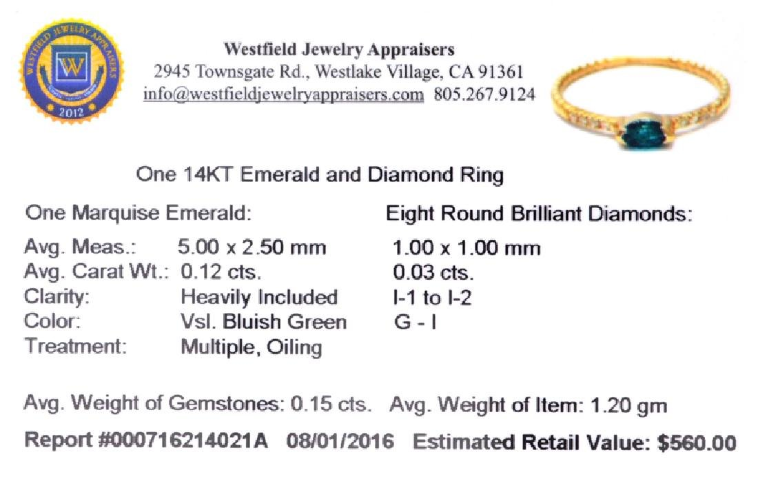 APP: 0.6k Fine Jewelry 14KT Gold, 0.15CT Green Emerald - 2