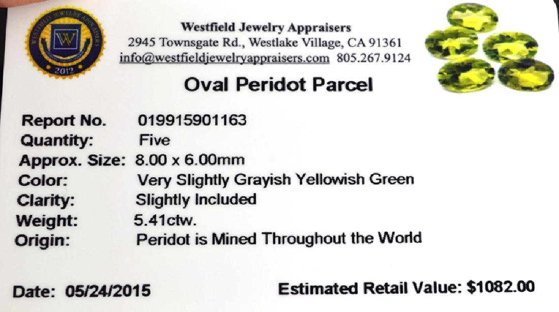 APP: 1.1k 5.41CT Oval Cut Green Peridot Parcel - 2
