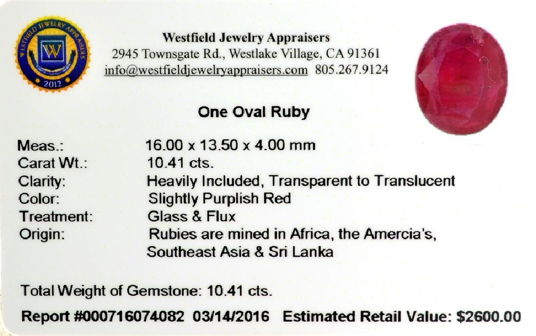 APP: 2.6k 10.41CT Oval Cut Ruby Gemstone - 2