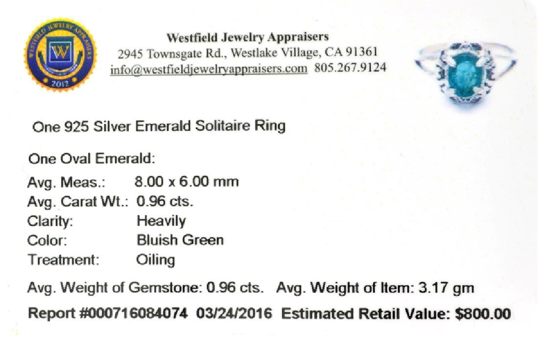 APP: 0.8k Fine Jewelry 0.96CT Green Emerald And - 2