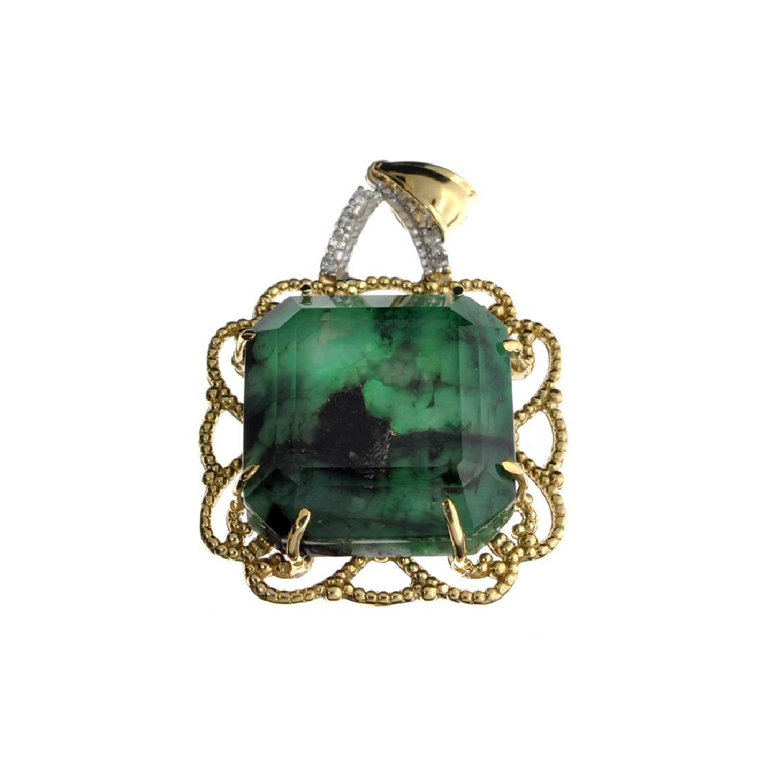 Fine Jewelry 14KT Gold, 25.55CT Square Cut Green
