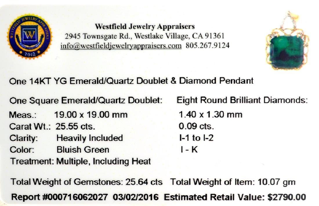 Fine Jewelry 14KT Gold, 25.55CT Square Cut Green - 2