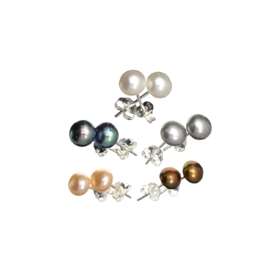 (5) Pair Button Pearl and Sterling Silver Earring Set