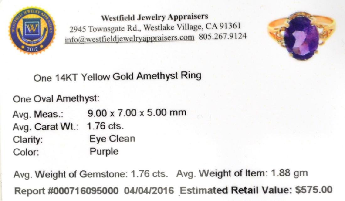 APP: 0.6k Fine Jewelry 14KT Gold, 1.76CT Oval Cut - 2