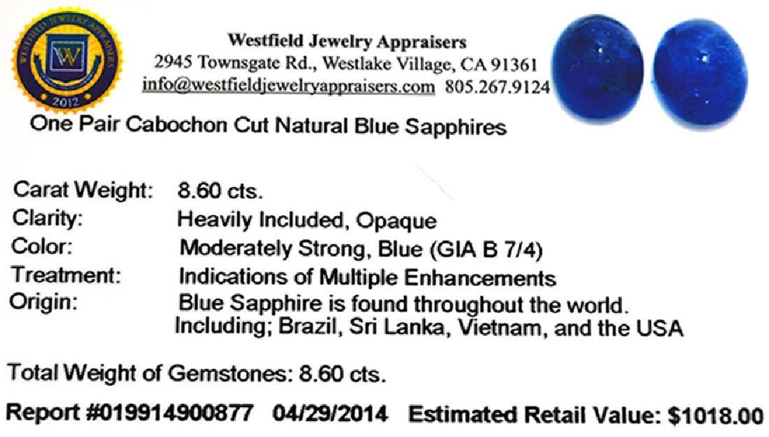 APP: 1k 8.60CT Cabochon Cut Natural Blue Sapphire - 3