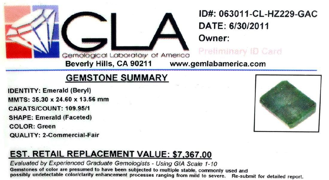 APP: 7.4k 109.95CT Emerald Cut Emerald Gemstone - 3