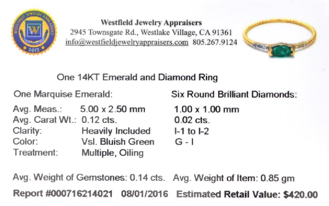 APP: 0.4k Fine Jewelry 14KT Gold, 0.14CT Green Emerald - 2