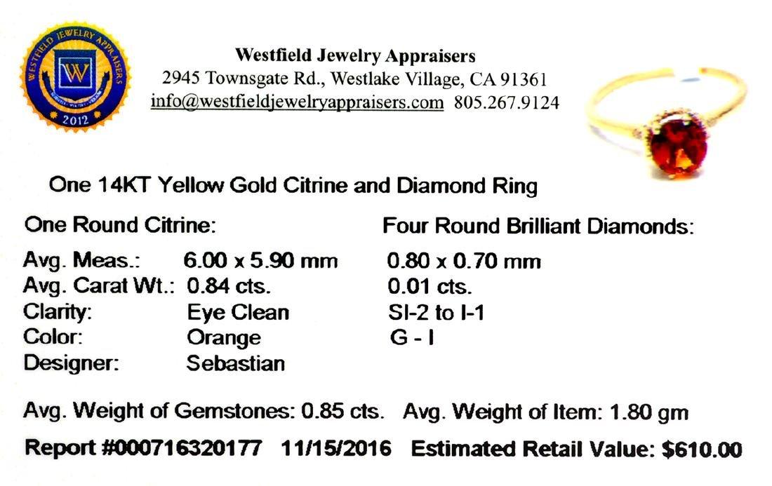 Designer Sebastian 14KT Gold 0.84CT Round Cut Citrine - 2