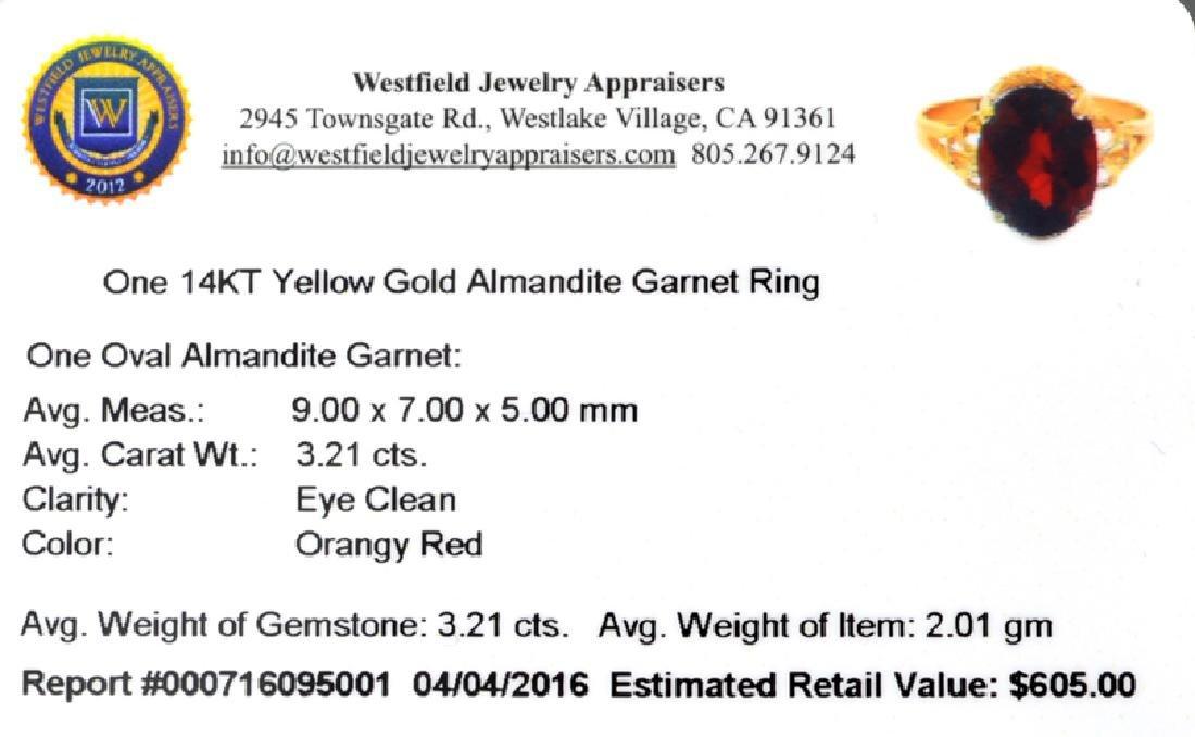 APP: 0.6k Fine Jewelry 14KT Gold, 3.21CT Oval Cut Red - 2
