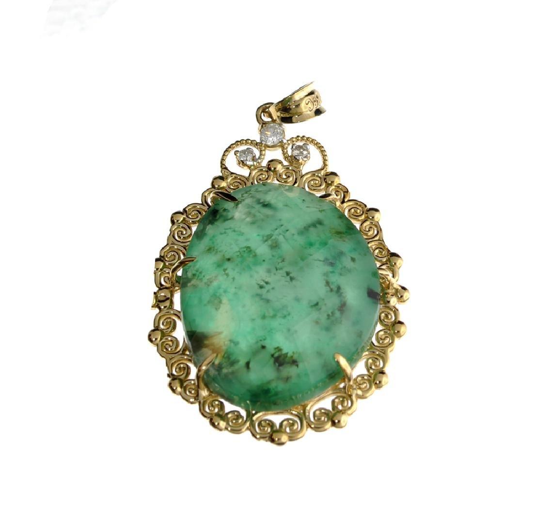 APP: 2.8k Fine Jewelry 14KT Gold, 27.35CT Green Emerald