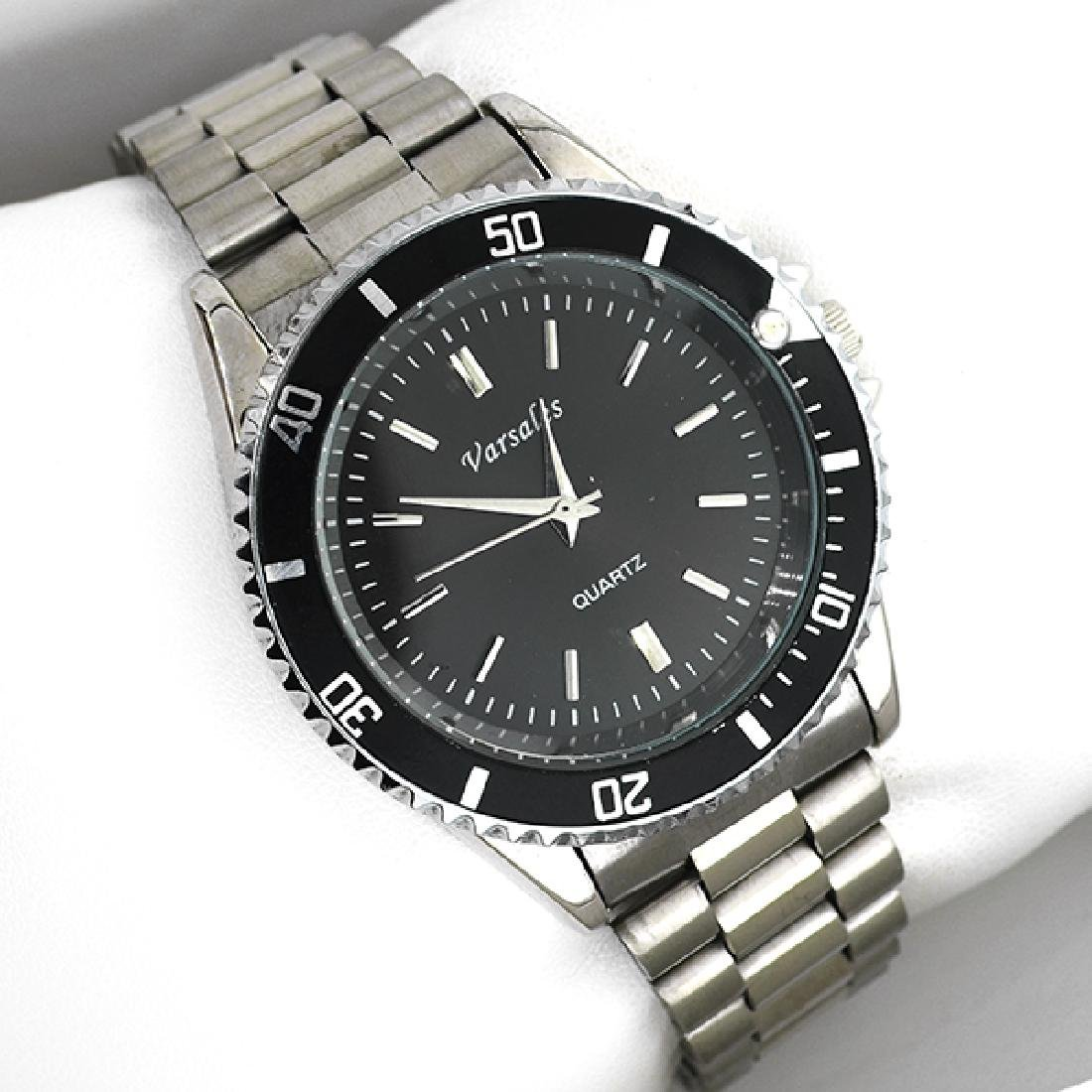 Varsales Men's Stainless Steel Silver and Black Watch