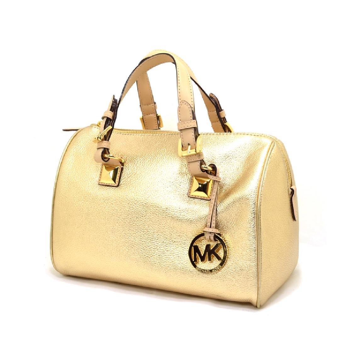 Brand New Michael Kors Grayson Leather Pale Gold Medium