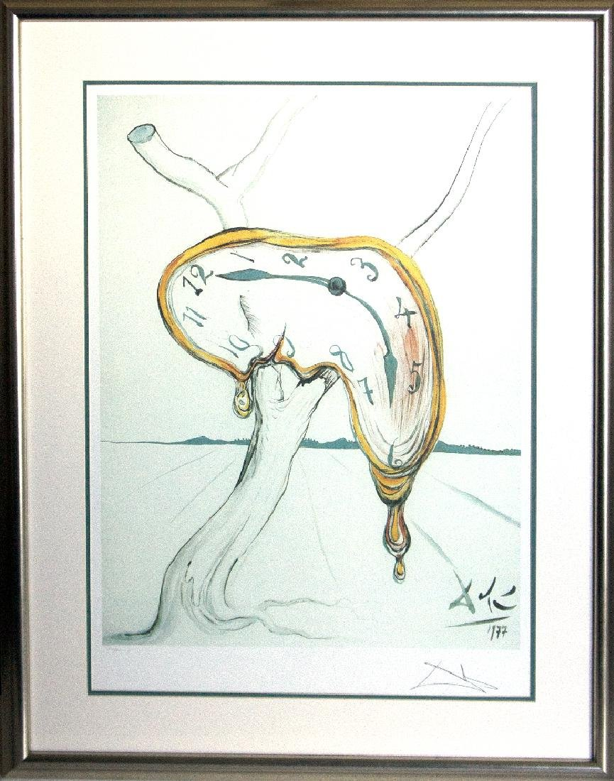 (After) Custom Framed Melted Clock By Salvador Dali
