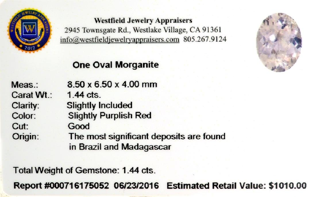 APP: 1k 1.44CT Oval Cut Morganite Gemstone - 2