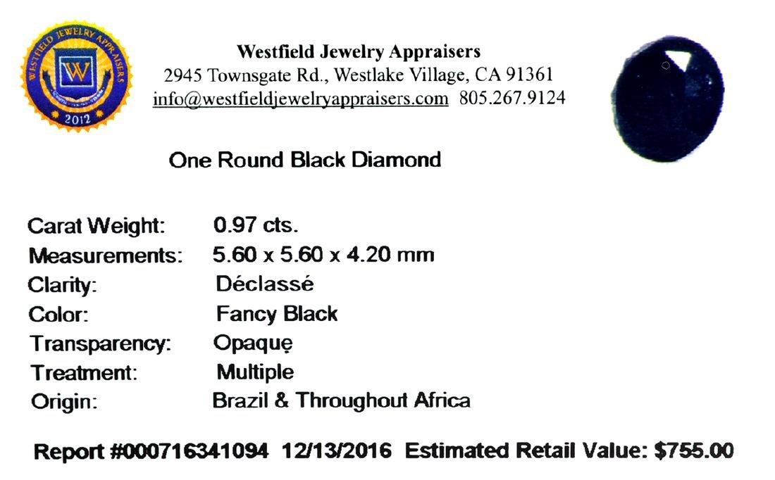 APP: 0.8k 0.97CT Round Cut Black Diamond Gemstone - 2