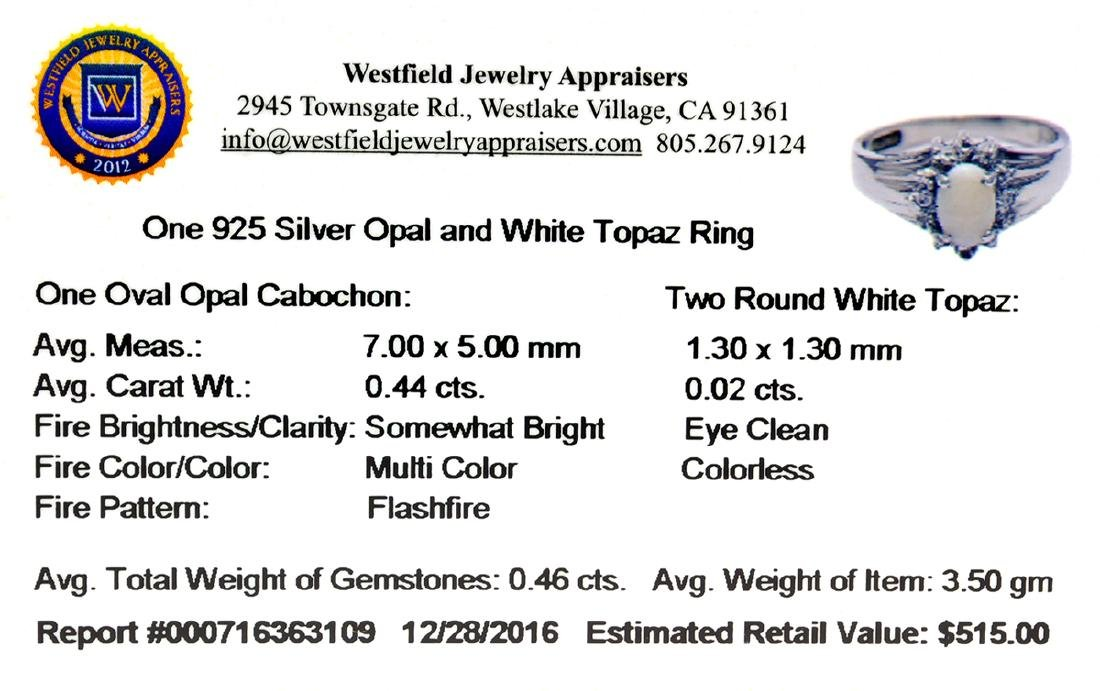 APP: 0.5k Fine Jewelry, 0.46CT Opal And White Topaz - 2