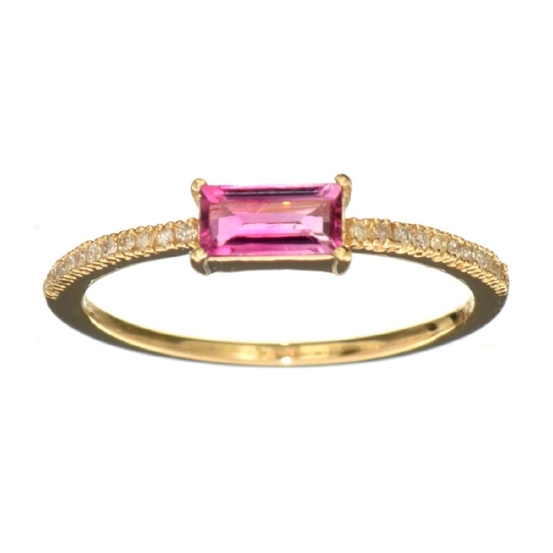 14KT Gold 0.42CT Rectangular Cut Pink Tourmaline and