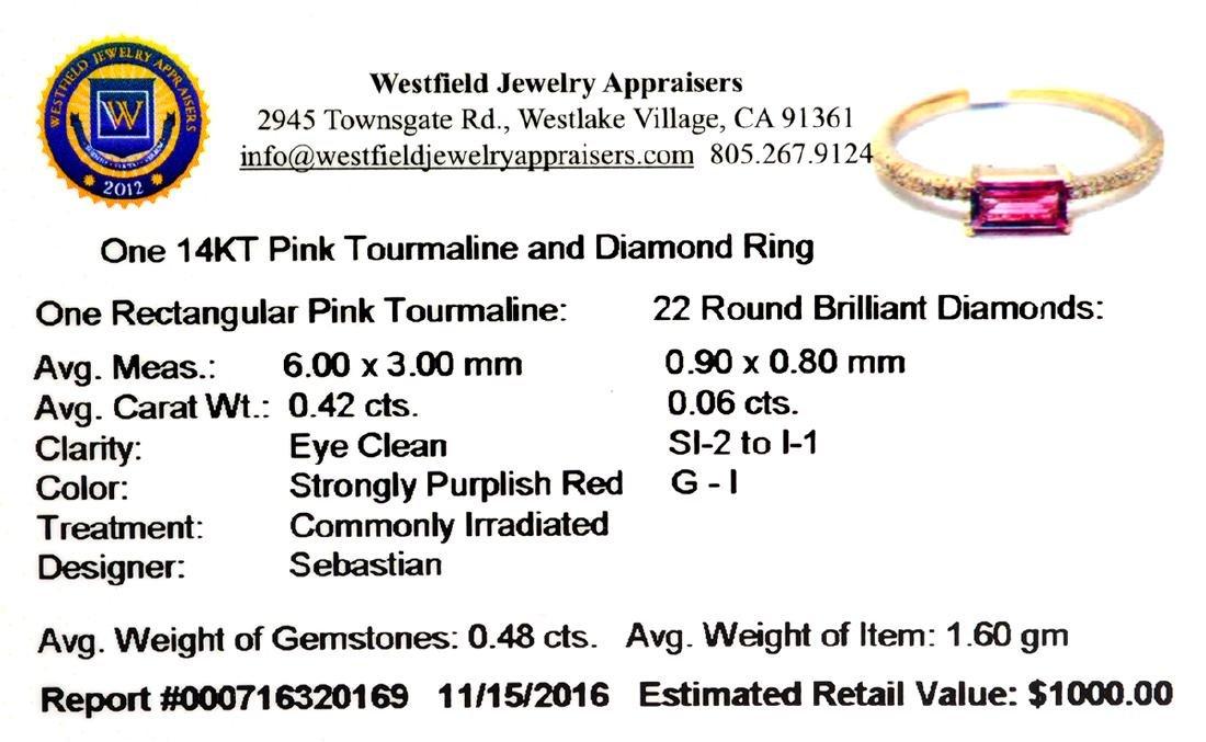 14KT Gold 0.42CT Rectangular Cut Pink Tourmaline and - 2