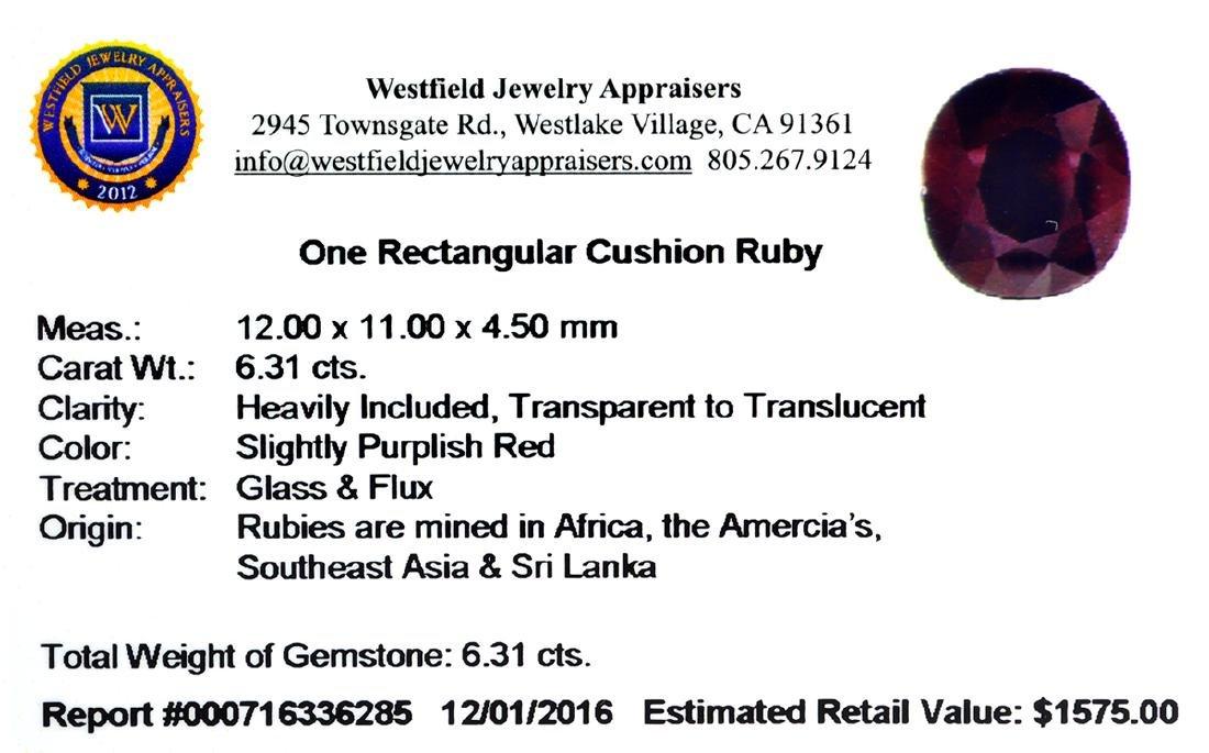 APP: 1.6k 6.31CT Rectangular Cut Ruby Gemstone - 2