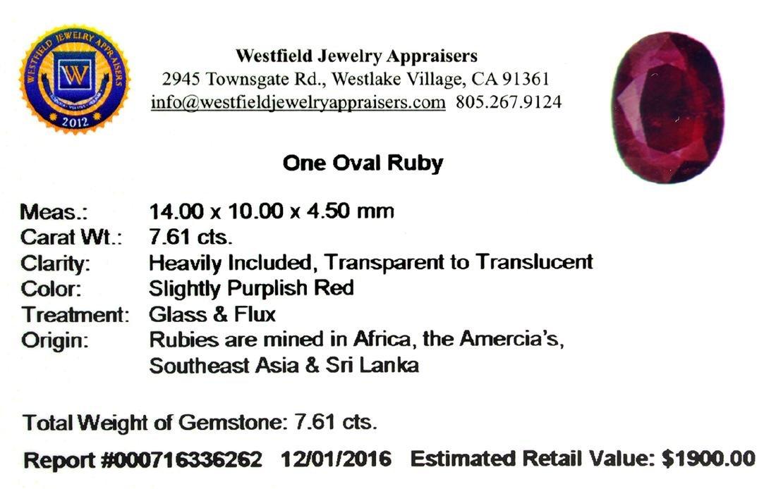 APP: 1.9k 7.61CT Oval Cut Ruby Gemstone - 2