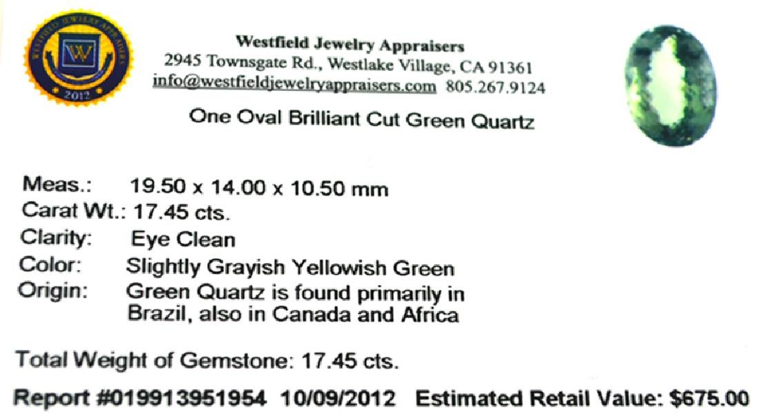 APP: 0.7k 17.45CT Oval Cut Green Quartz Gemstone - 2