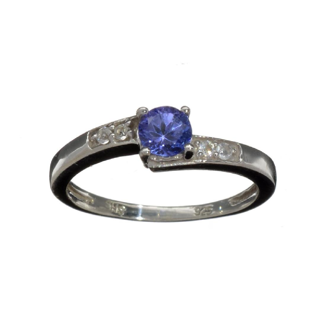0.50CT Round Cut Violet Blue Tanzanite And Colorless