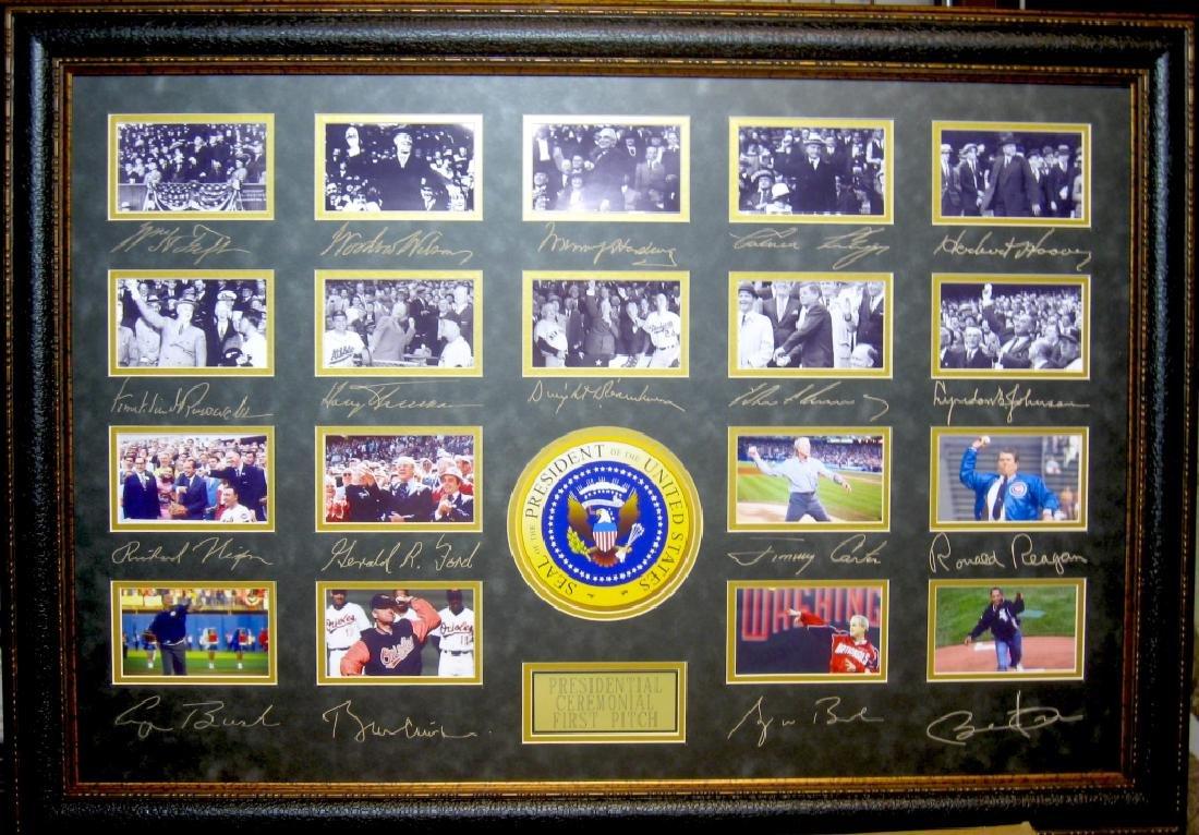 Presidental First Pitch Taft-Obama Engraved Signatures