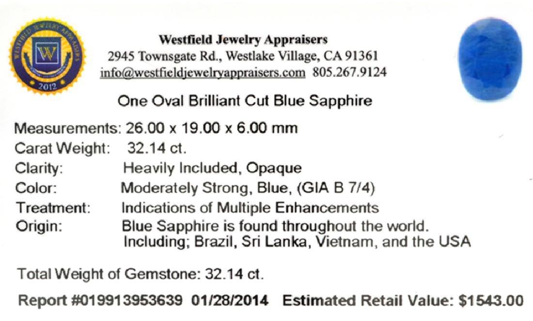 APP: 1.5k 32.14CT Oval Cut Blue Sapphire Gemstone - 2
