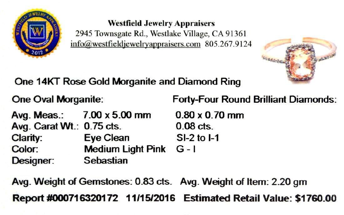 Designer Sebastian 14KT Rose Gold, Oval Cut Morganite - 2