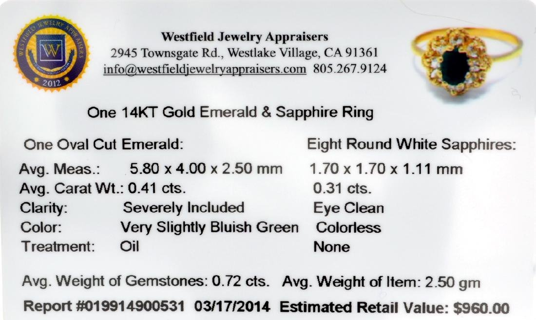 APP: 1k 14 kt. Gold, 0.41CT Oval Cut Emerald And - 2