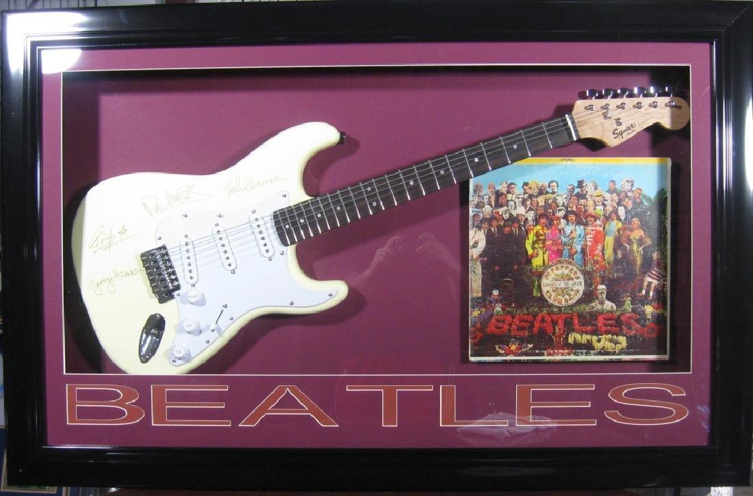 Beatles Laser Engraved Guitar - Plate Signatures