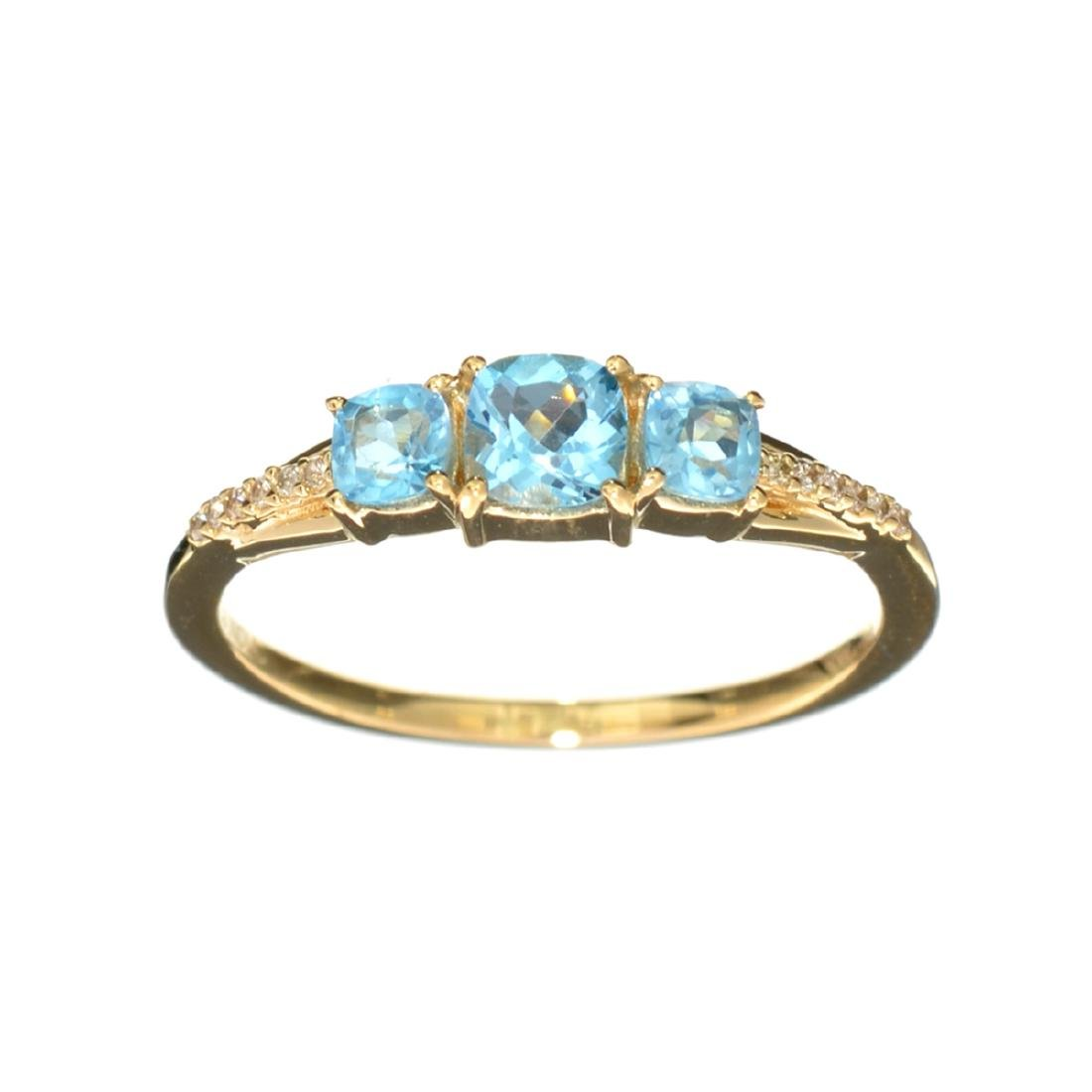 14KT Gold 0.78CT Square Cushion Cut Blue Topaz and