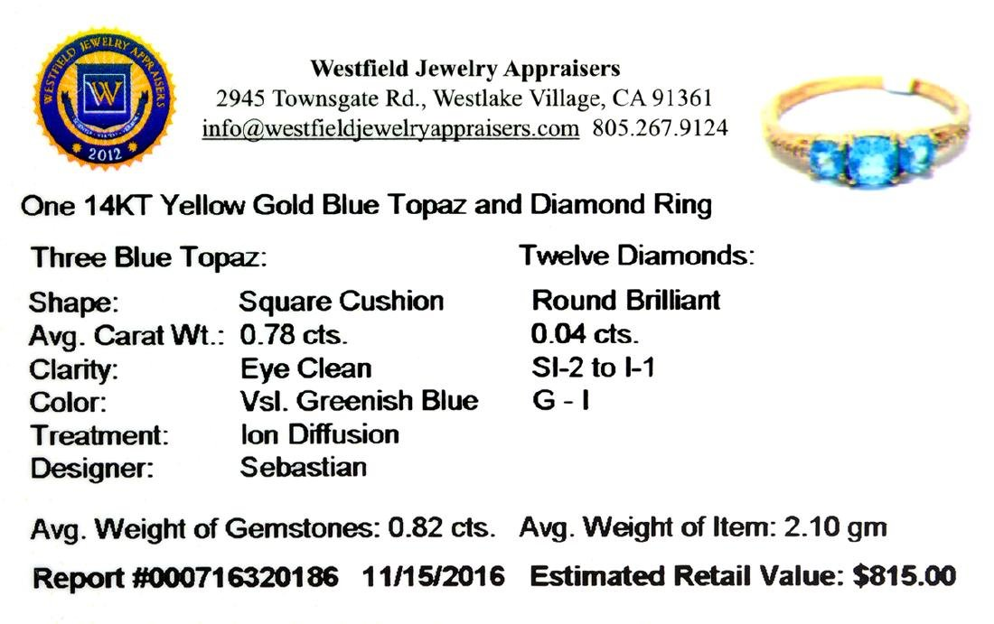 14KT Gold 0.78CT Square Cushion Cut Blue Topaz and - 2