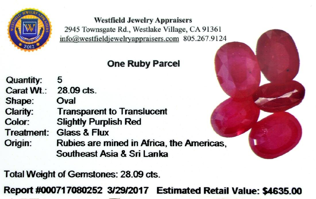 APP: 4.6k 28.09CT Oval Cut Ruby Parcel - 2