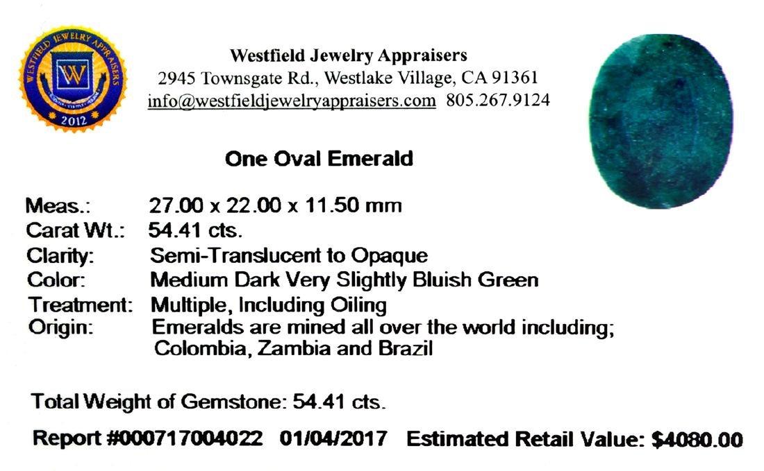 APP: 4.1k 54.41CT Oval Cut Green Emerald Gemstone - 2