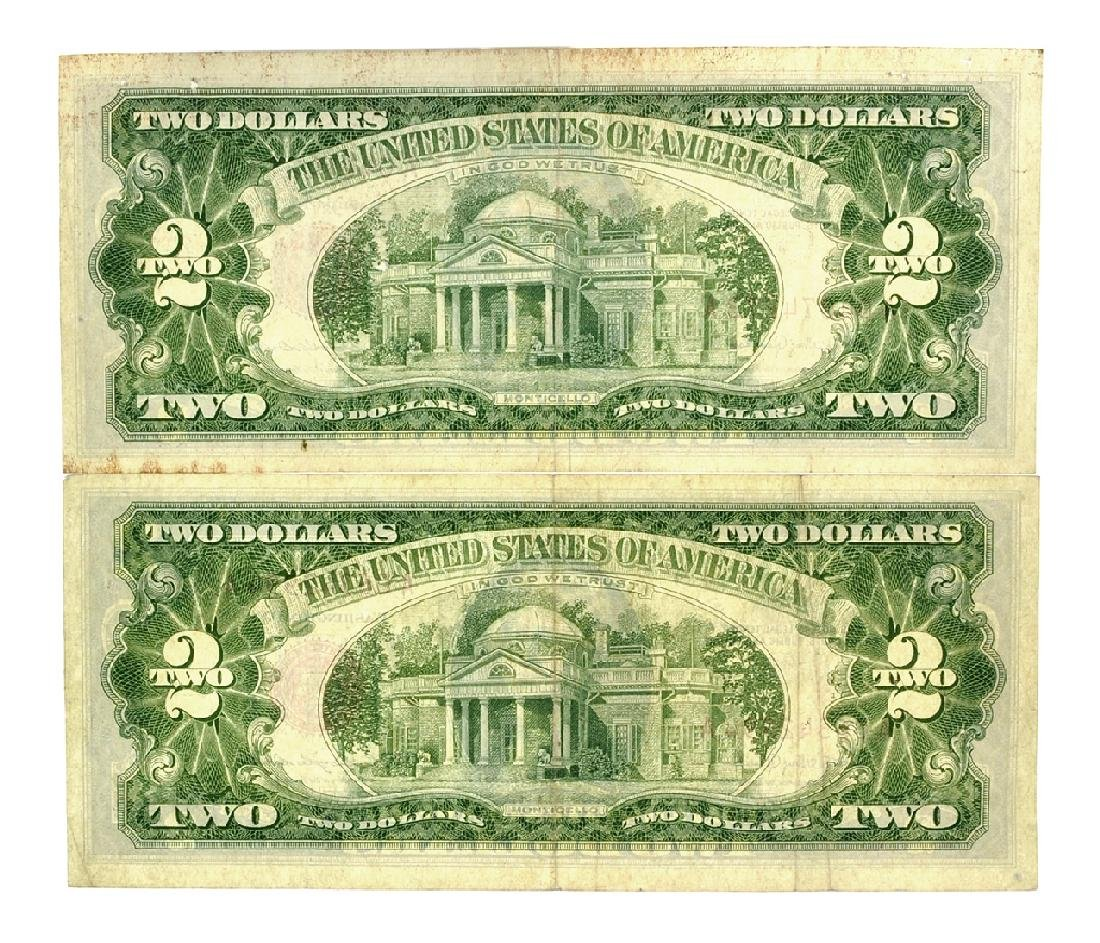 Rare (2) 1963 $2 U.S. Red Seal Notes - 2