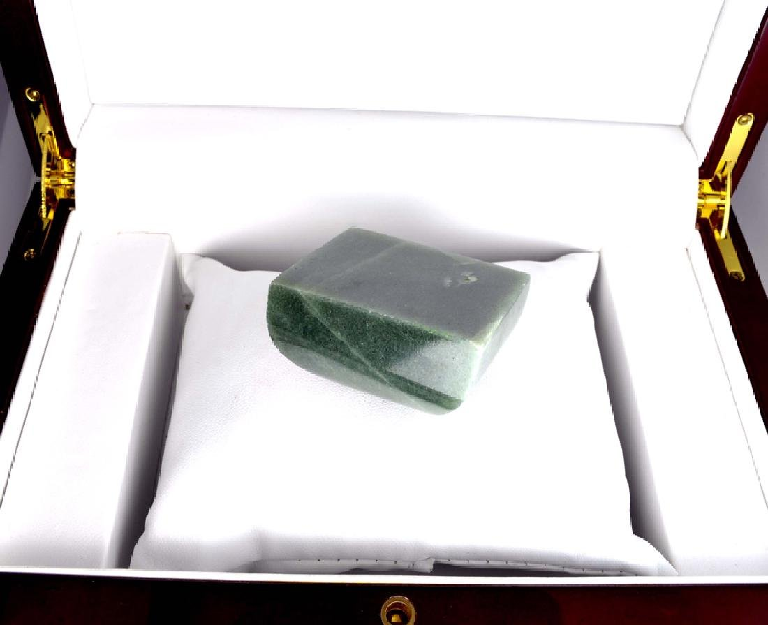 APP: 7.3k 609.50CT Square Cut Green Guatemala Jade