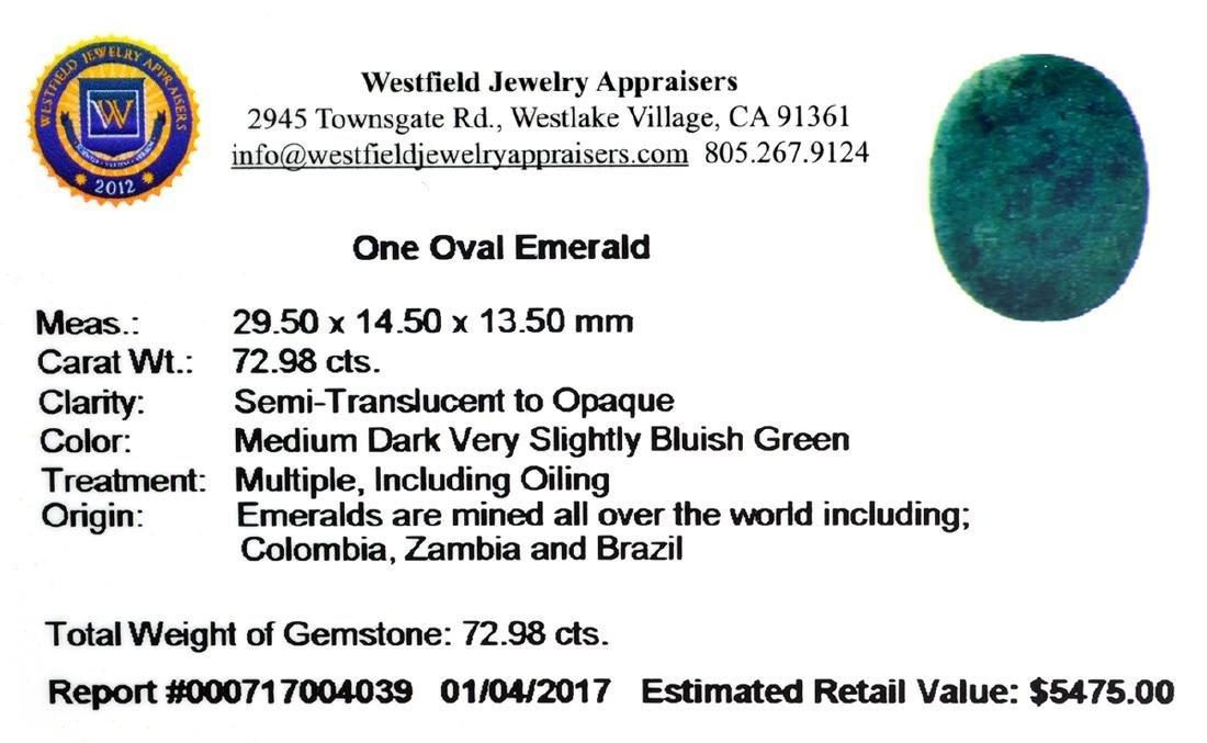 APP: 5.5k 72.98CT Oval Cut Green Emerald Gemstone - 2
