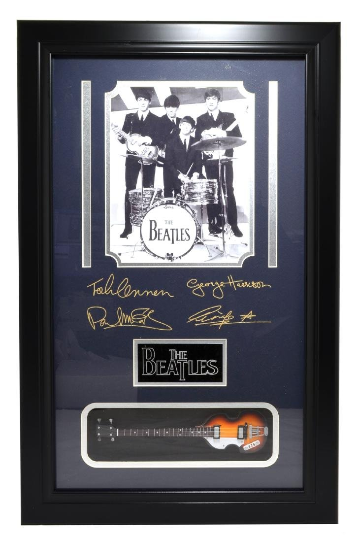 Rare Plate Signed Beatles Photo With Guitar