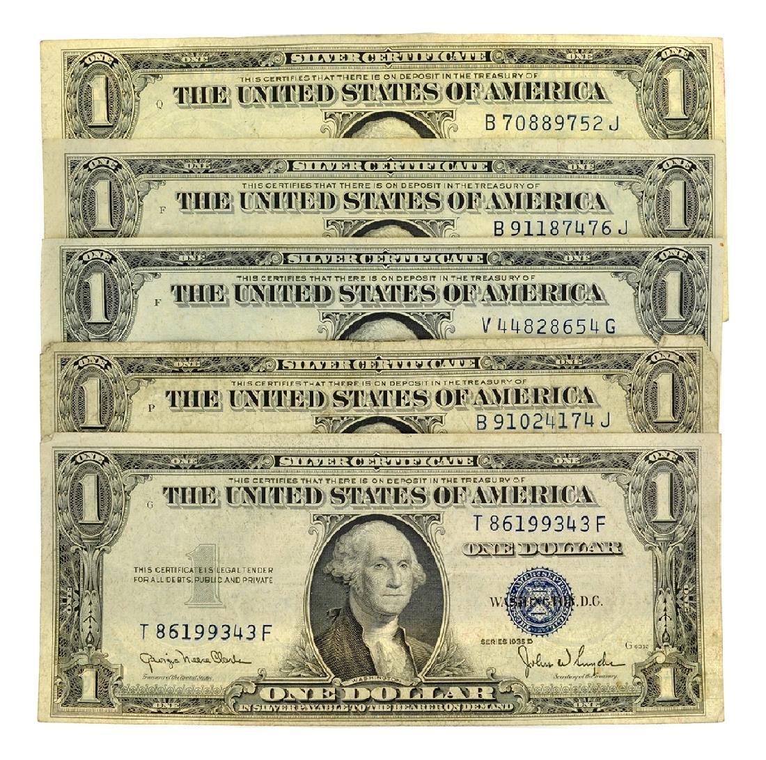 (5) 1935 $1 U.S. Silver Certificates