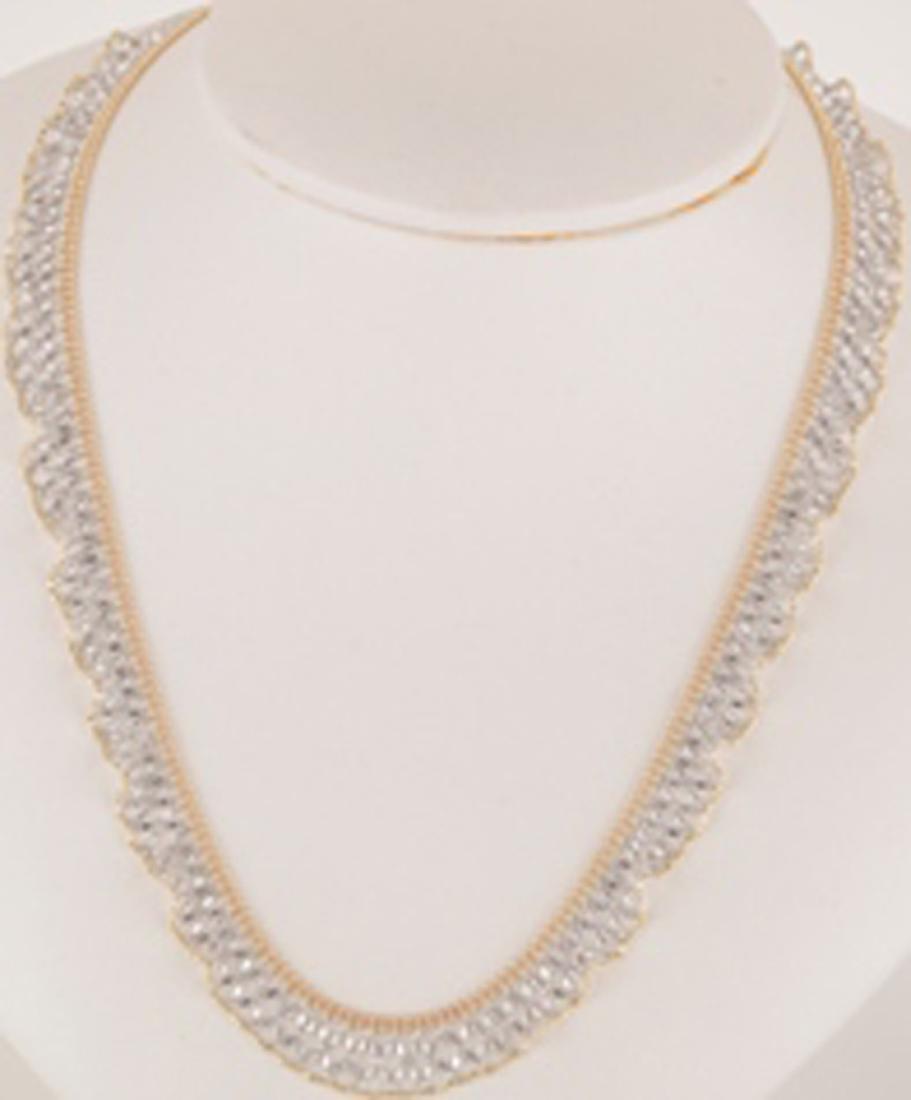 *Fine Jewelry 14KT White/Yellow Gold, 18'' Fancy Lace